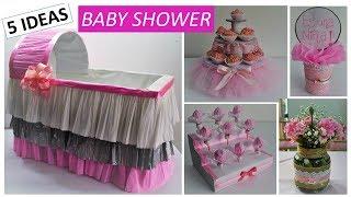5 Ideas Fáciles y Económicas BABY SHOWER NIÑA | Cuna de regalos |  Mesa de dulces