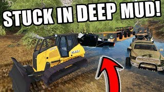 FARMING SIMULATOR 2017 | WINCHING OUT TRUCKS STUCK IN DEEP MUD ON A CAMPING TRIP