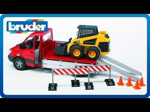 0 Bruder Toys MB Pick up Truck w CAT Skid Steer Loader & Accessories #02922