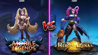 Mobile legends vs Heroes Arena side by side comparison