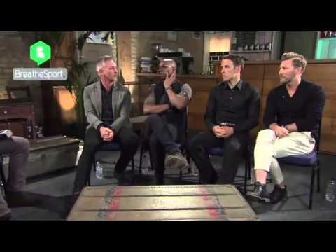 Ian Wright, Phil Neville, Gary Lineker & Robbie Savage on the England national t