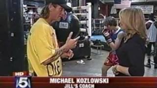 Jill Emery IFBA Welterweight Champion with her trainer Michael Kozlowski on FOX5 News