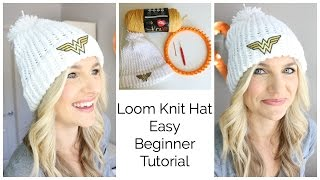 Easy Loom Knit Hat Tutorial - Beginner!!