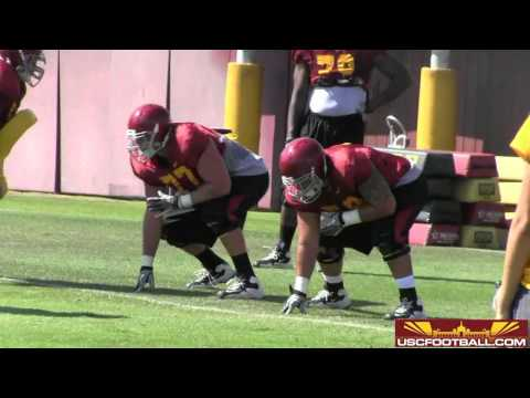 USC offensive line drills from fall camp