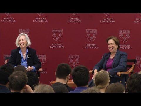 Dean Minow talks with Associate Justice Elena Kagan '86 at HLS
