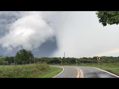 INSANELY massive, vivid hail shaft on tornado warned storm SW of Fayetteville, AR