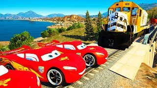CAN 20 MCQUEEN CARS STOP THE TRAIN!?(YES) | Trains for Kids with Spiderman GTA 5 Gameplay