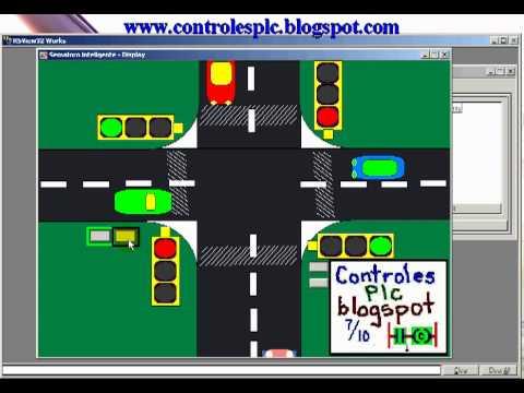 Semaforo Inteligente control de cruce de autos PLC y Rsview32