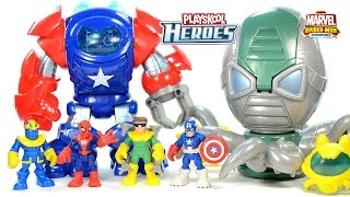 Captain America Space Command Armor vs Thanos & Spider-Man vs Doc Ock's Octo-Mech Playskool Heroes