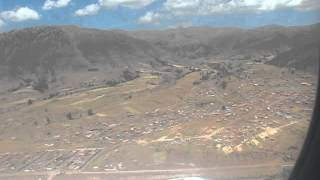 Approaching and landing. Cusco by airplane