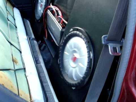 2 Kicker CVT 12 inch shallow subwoofers in toyota hilux minitruck