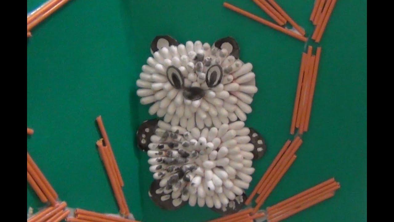 Аппликация из ватных палочек и ватных дисков для детей 50