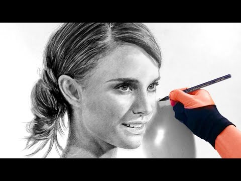 Lovely Natalie Portman In Timelapse Charcoal - Soothing music