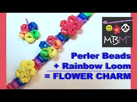 Perler Beads + Rainbow Loom = Flower Charm!