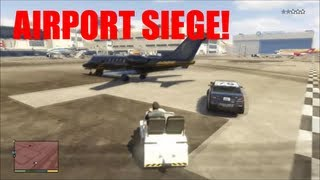 GTA V free roam fun #3:Rollercoaster Ride, Airport AirTug Siege and Playing Chicken On The Freeway!