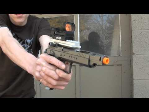 CyberGun/KWC Tanfoglio Gold Custom CO2 BlowBack Airsoft Pistol Chrono/Shooting