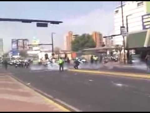 Policial reppression in Venezuela during the protest against the dictatorship.