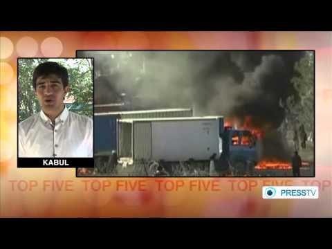 [4] Fuel tankers of US-led forces have been set ablaze near the afghan capital, Kabul