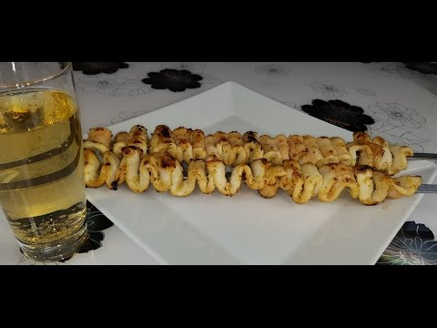 шашлык из кальмаров - skewers of squid