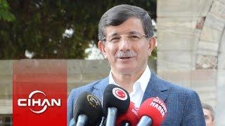 Davutoğlu cami çıkışında koalisyon sorularını cevapladı