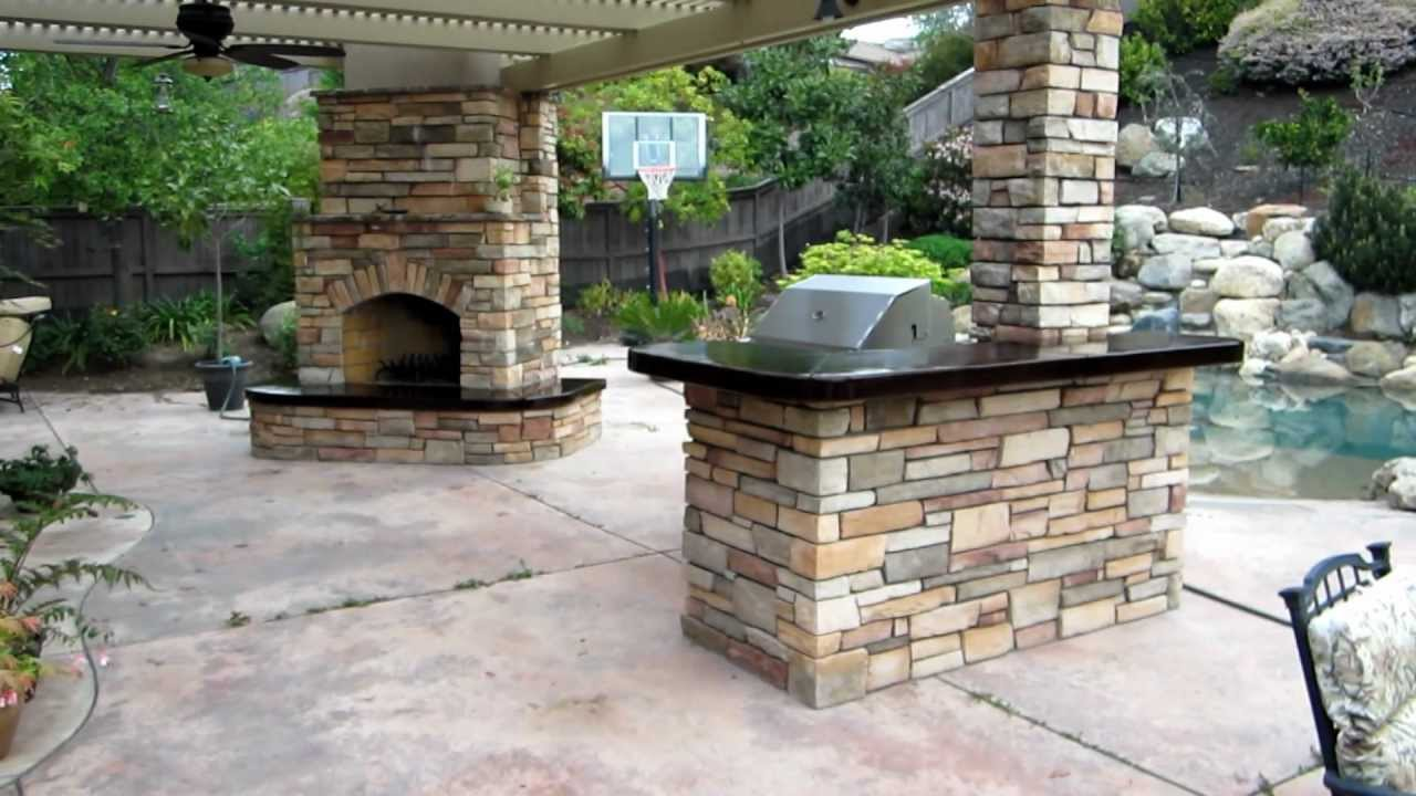 Eldorado Hills Outdoor Kitchen With Fireplace And Awning