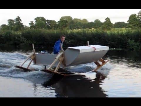 Hydrofoilboat homemade - YouTube