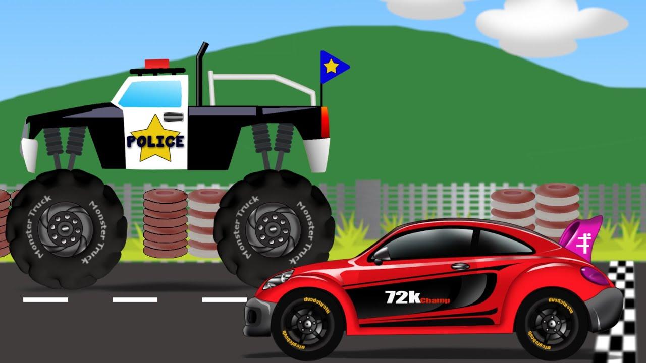Monster Truck vs Sports Car