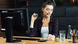 Beautiful Girl Working with PC   Stock Footage - Videohive