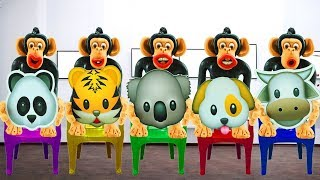 Five little monkeys Jumping On The Bed w/ Learning Animals Nursery Rhymes Song