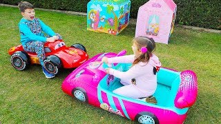 ALİNİN YENİ ARABALARI Barbie Car and McQueen Inflatable Disney Toy Cars