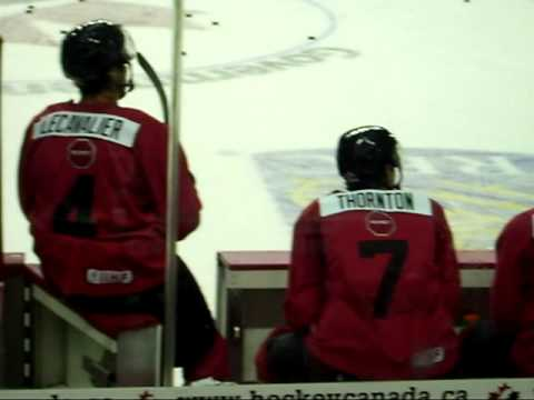 Vincent Lecavalier & Joe Thornton at Team Canada Orientation Camp Day One 2010. More on-ice activity at the Canadian National Men's Hockey Team orientation c...