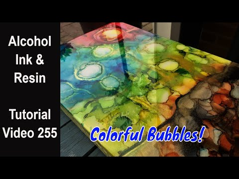 Alcohol Ink Resin pour/ Start to Finish/ Colorful Bubbles
