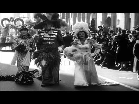 Mummers celebrate New Year's Day in Philadelphia Gala Parade. HD Stock Footage
