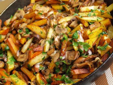 Рецепт жареной картошки с шампиньонами