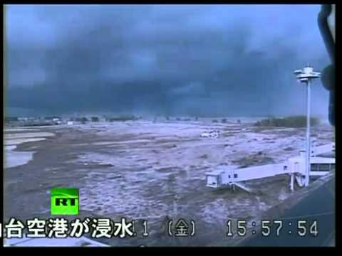 EXCLUSIVE!!!! Japan CCTV Video Of Tsunami Wave Hitting Sendai Airport