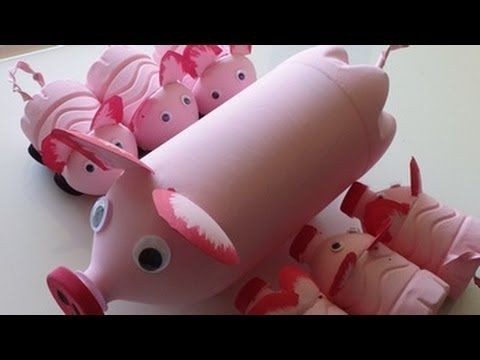 Recycled Art Ideas For Kids Pig S Family From Plastic