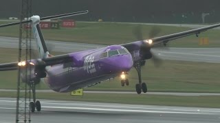 Planes struggle to land in strong winds at Birmingham Airport in Alabama