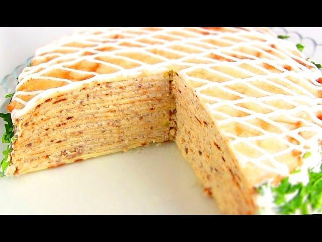 Блинный торт рецепт с фото с курицей и грибами