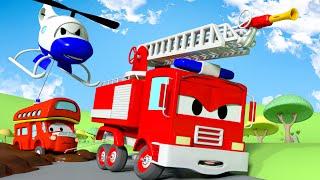 O Caminhão enlodado !  A Super Patrulha: caminhão de bombeiro & carro de polícia 🚓 🚒  l