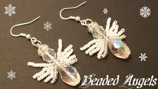 Angels with Beaded Wings Beading Tutorial by HoneyBeads1 (Christmas jewerly)
