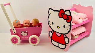 Hello Kitty Wooden Stroller and Bunk bed Pink Dolls Pram Baby Annabell Baby Born Nursery Rhymes