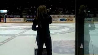Tara Oram performing Fly Girl @ Barrie Colts game