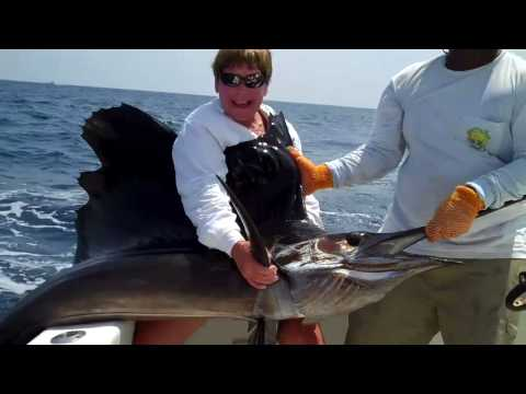 Catching Big Fish in Quepos, Costa Rica. Offshore sport fishing for sailfish