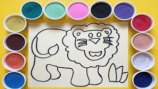 Chị Chim Xinh TÔ MÀU TRANH CÁT CON SƯ TỬ - Đồ chơi trẻ em - Colored Sand Painting Toys