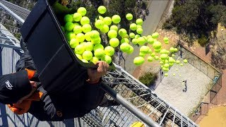 CATCHING 100 TENNIS BALLS from 45m TOWER!