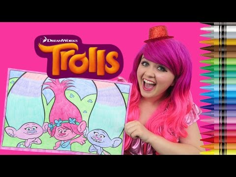 Coloring Trolls Poppy, Satin & Chenille GIANT Coloring Page Crayons | COLORING WITH KiMMi THE CLOWN