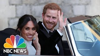 Prince Harry and Meghan Markle Head To Frogmore House In A Silver Blue Jaguar | NBC News