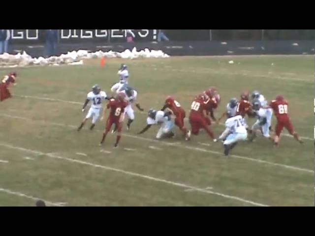 11-21-09 - Skyler Seewald breaks a tackle on the 8 yard TD (Brush 6, Platte Valley 0)