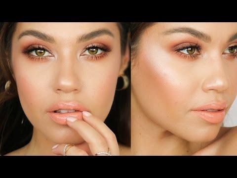 GRWM Peach Spring Makeup Tutorial | Jlo Glow Makeup | ABH Modern Renaissance Palette | Eman