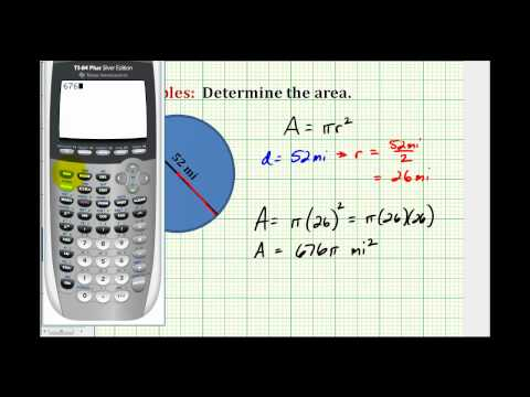 Example:  Determine the Area of a Circle